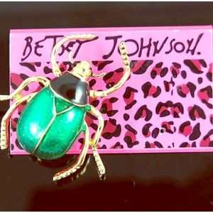 Betsey Johnson Green and Gold Beetle Pin